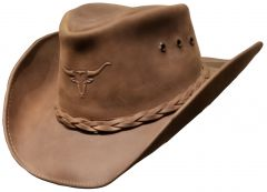 Modestone Weathered Antiqued Leather Cowboy Hat Bull Head Brown