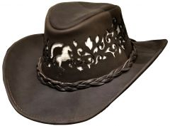 Modestone Unisex Leather Cowboy Hat Rearing Horse Filligree Cut Out Brown