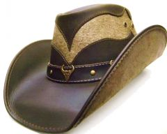 """Modestone Men's Leather Cowboy Hat """"Hair On"""" Cowhide Section Brown"""