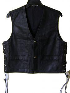Modestone Men's Leather Vest H Shaped Braid S Black