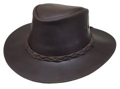 Modestone Men's Oiled Leather Casual Hat Brown
